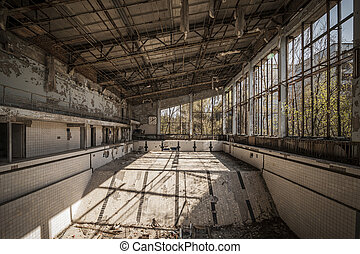 Chernobyl - Abandoned swimming pool in Pripyat - Wide-angle...