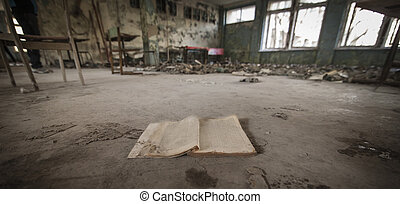 Chernobyl - Book in abandoned school - Book on the floor of...