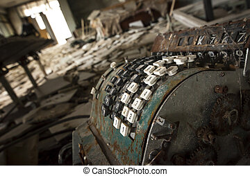 Chernobyl - Cash register in abandoned store - Old rusty...