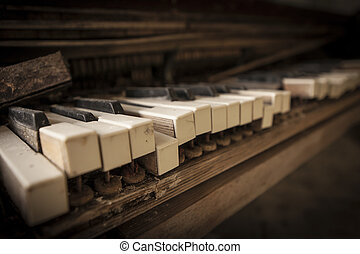 Chernobyl - close-up of an old piano - Close-up of an old...