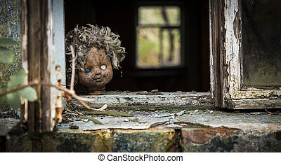 Chernobyl - Doll looks out a window - Old doll looks out a...