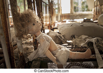 Chernobyl - Doll on rusty bed base - Old doll sitting on a...