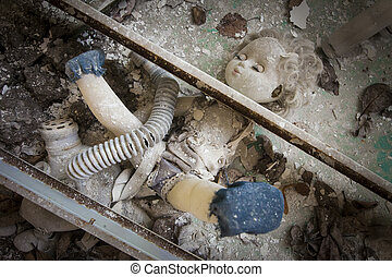 Chernobyl - Doll placed under metal beams - Old doll placed...