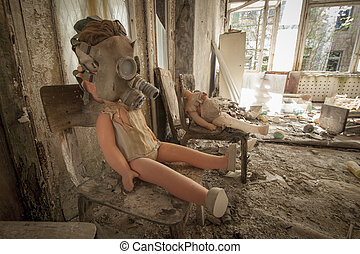 Chernobyl - Gas mask doll on chair - Old doll with a gas...