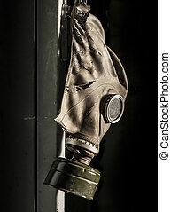 Chernobyl - gas mask hanging on locker - Gas mask hanging on...