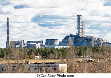 Chernobyl Nuclear Power Plant from afar, 2012