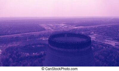 Chernobyl Nuclear Power Plant, toned color video. Flying...
