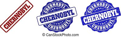 CHERNOBYL grunge stamp seals in red and blue colors. Vector CHERNOBYL marks with grunge surface. Graphic elements are rounded rectangles, rosettes, circles and text tags.