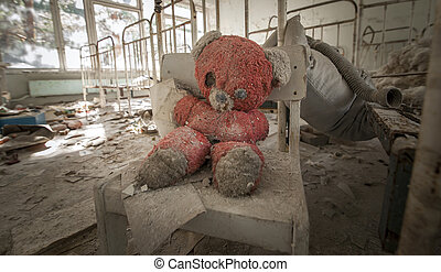 Chernobyl - Teddy bear in abandoned kindergarten - Old red...