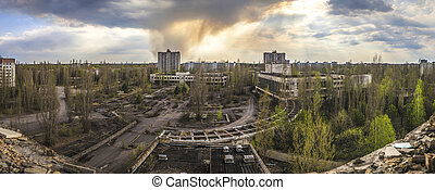 Chernobyl - Wide angle view of Pripyat - Wide angle view of...