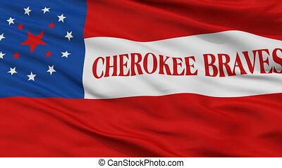 Cherokee Braves Indian Flag Closeup Seamless Loop