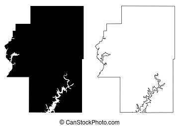 Cherokee County, Oklahoma State (U.S. county, United States of America, USA, U.S., US) map vector illustration, scribble sketch Cherokee map