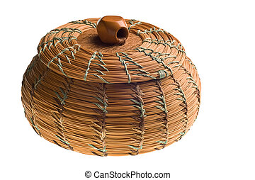 Cherokee handwoven basket isolated on white background
