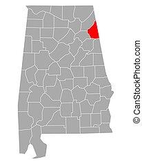 cherokee, mapa alabama