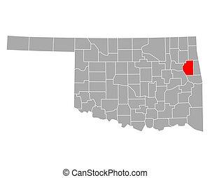 cherokee, mapa de oklahoma