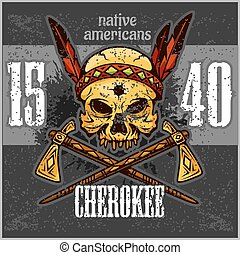 Cherokee - Skull of an indian warrior vector illustration. War paint and native american feathers headwear.
