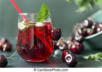 cherries , 1 Cup with lemonade , green and red shades