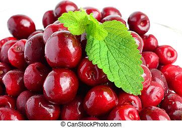 Cherries and Lemon balm leaf 2