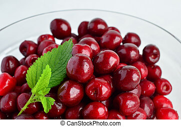 Cherries and Lemon balm leaf 3