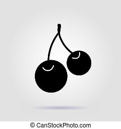 Cherries black icon on a gray background with soft shadow