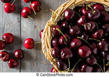 Closeup of cherries in a basket.
