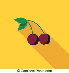 Cherries icon, flat style
