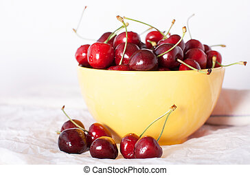 cherries in a yellow plate