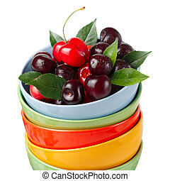 Cherries in colorful cups