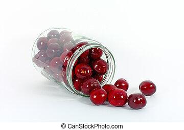 Cherries in glass jar
