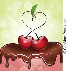 Cherries in Love on a cake