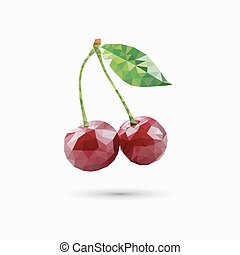 Cherries in polygonal style. Vector illustration
