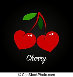 cherries in the form of red hearts with green leaves on a black background. Flat illustration, berry logo. vector