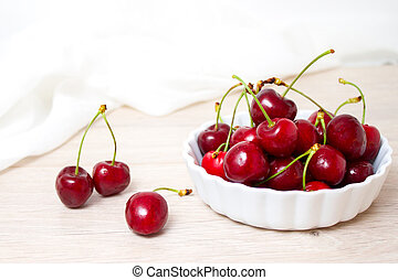 healthy eating and food concept - Cherries in white bowl. Cherry on white background.