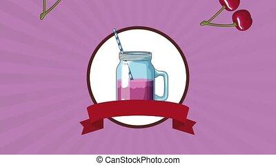 Cherries juice mason jar HD animation - Mason juice over...