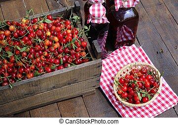 Cherries liqueur. - Preparing homemade cherry liqueur in the...