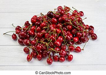 Cherries on white background.