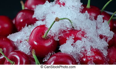 Cherries, Red Cherry on The Plate - A Group of Ripe Red...
