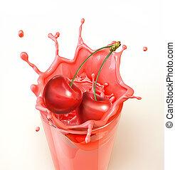 Cherries splashing into a glass full of milkshake. Close-up ...