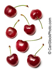 Cherries - Red cherries on a white background.