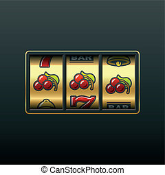 Vector illustration of winning in slot machine.