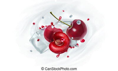 Cherries with ice and drops of juice. - Cherry halves fly in...