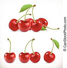 cherry., アイコン, 甘い, fruit., イラスト, 現実的, ベクトル, set., 3d