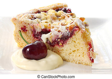 Cherry and Almond Tart - Cherry and almond tart, with fresh ...