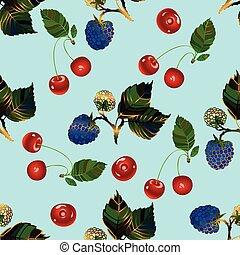Cherry and blackberry seamless pattern.