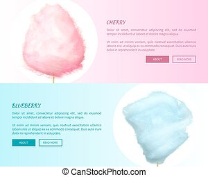 Cherry and Blueberry Cotton Candies Web Banners - Cherry and...