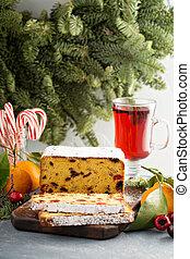 Cherry and chocolate fruit cake for Christmas
