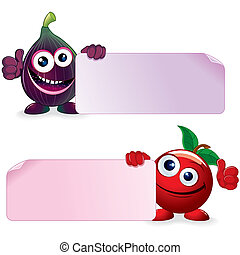 Cherry and Fig. Cartoon Illustration - Sweet Cherry and Ripe...
