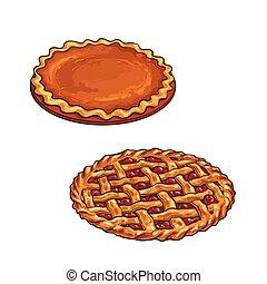Cherry and pumpkin pie, thanksgiving dessert - Hand drawn...