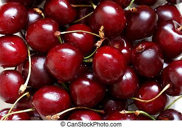 Cherry berries - Close up of fresh ripe cherry berries