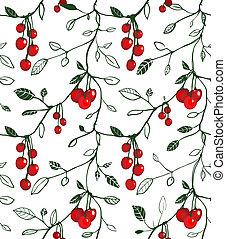 Cherry Berry Seamless Pattern Illustration - Vector EPS8...